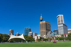 Sydney Domain, openbare ruimte met CBD-horizon op de achtergrond Stock Foto's