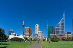 Sydney Domain, openbare ruimte met CBD-horizon op de achtergrond Stock Fotografie