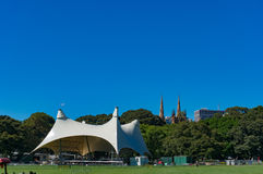 Sydney Domain, public space with CBD skyline on the background Royalty Free Stock Photography