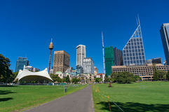 Sydney Domain, public space with CBD skyline on the background Royalty Free Stock Images