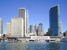 Sydney Downtown and Ferry Terminal Royalty Free Stock Photo