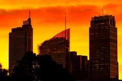 Sydney downtown skyline at sunset stock photography