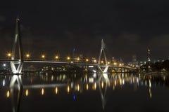 sydney för natt för anzacAustralien bro tid royaltyfri foto