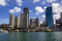 Sydney Ferries and high rise buildings at Circular Quay in Sydney Royalty Free Stock Photo
