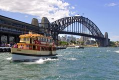 Sydney ferry RADAR and the Harbour Bridge Stock Images