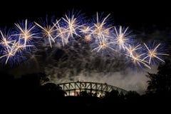 Sydney-Feuerwerk-Brücke Stockfotografie