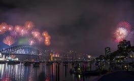 Sydney 2014 Feuerwerke lizenzfreie stockbilder