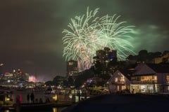 Sydney 2014 Feuerwerke lizenzfreie stockfotos