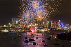 Sydney Firework Blue Yellow balls Royalty Free Stock Images
