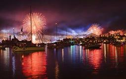 Sydney Firework NAVY red balls Stock Photo