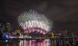 Sydney 2014 Fireworks. Harbour bridge stock images