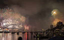 Sydney 2014 Fireworks. Harbour bridge royalty free stock photo
