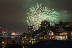 Sydney 2014 Fireworks. Harbour bridge royalty free stock photos