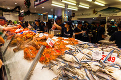 Sydney Fish market. On the day before christmas. It is very busy at the market as people scramble to buy fresh seafood for christmas day barbecues. Fish Stock Images