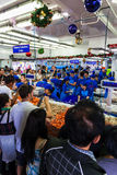 Sydney Fish market. On the day before christmas. It is very busy at the market as people scramble to buy fresh seafood for christmas day barbecues. People shout royalty free stock photo