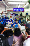Sydney Fish market. On the day before christmas. It is very busy at the market as people scramble to buy fresh seafood for christmas day barbecues. People shout royalty free stock photography