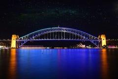 Sydney-Hafen-Brücke nachts, Australien lizenzfreies stockbild
