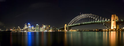 Sydney-Hafen-Brücken-Panorama Lizenzfreies Stockbild