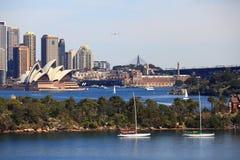 Sydney-Hafen Landschaft und Opernhaus lizenzfreies stockfoto