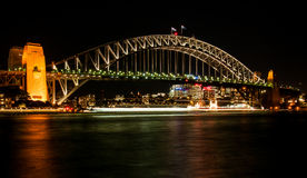 Sydney-Hafenbrücke nachts Lizenzfreie Stockfotografie