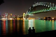 Sydney-Hafennacht Lizenzfreie Stockbilder