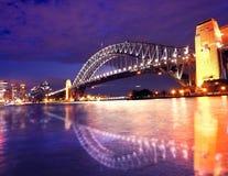 Sydney hamn i nattetid Fotografering för Bildbyråer