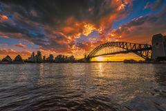 Sydney hamn på solnedgången royaltyfri foto