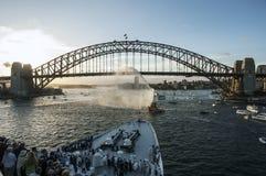 Sydney hamn - panorama som tas på 19 av Februari 2007 under för kryssningskepp för drottning Elizabeth 2 besök Arkivbild