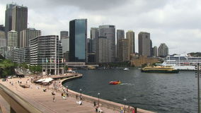 Sydney Harbor aerial shot. Taken from opera house stock video footage
