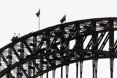 Sydney Harbor Bridge. And Australian flag Royalty Free Stock Photos