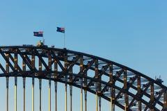 Sydney Harbor Bridge. And Australian flag Stock Photo