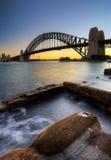 Sydney Harbor Bridge. Sydney Harbour Bridge with rocks in the foreground Royalty Free Stock Photos