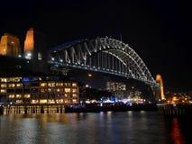 Sydney Harbor Bridge in night. Taken in Sydney during Vivid Sydney Royalty Free Stock Photo