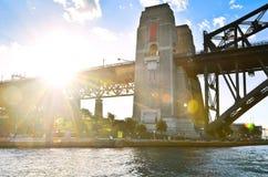 Sydney Harbor Bridge no por do sol Fotografia de Stock
