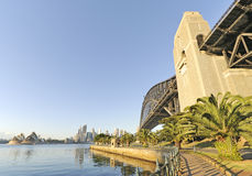 Sydney harbor bridge and opera house Stock Images