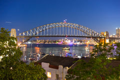 Sydney Harbor Bridge and Opera House. View from Mcmahons Point at night Royalty Free Stock Images