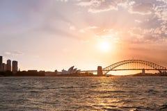Sydney harbor bridge and opera house Royalty Free Stock Images