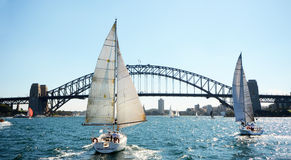Sydney Harbor Bridge with Sailboats, Australia Stock Image