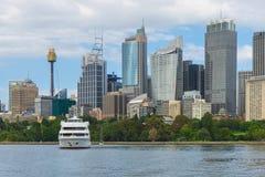 Sydney Harbor Cityscape. Sydney, Australia - February 19, 2017: View of the Sydney Harbor and cityscape Royalty Free Stock Photo