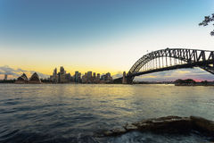 Sydney Harbor and cityscape. View of the Sydney Harbor and cityscape Stock Photo