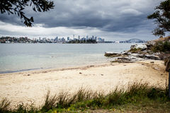 Sydney harbor and downtown buildings Royalty Free Stock Image