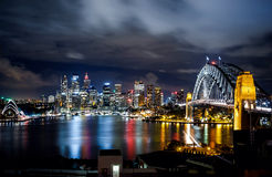 Sydney harbor and downtown buildings Royalty Free Stock Photos