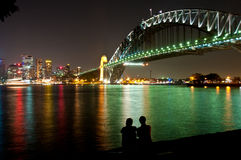 Sydney harbor night Royalty Free Stock Images