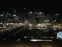 Sydney harbor at night royalty free stock images