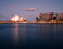 Sydney Harbor and Opera House at dusk Stock Photos