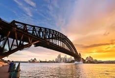 Sydney Harbor på skymning Fotografering för Bildbyråer