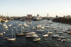 Sydney harbor panorama with yachts Queen Mary 2 on the background. Royalty Free Stock Photo