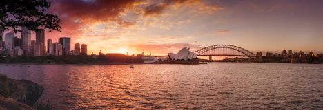 Sydney Harbor sunset panorama stock photos