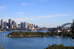 Sydney Harbour. View of Sydney Harbour from Bradley's Head. Includes Sydney Harbour Bridge, Sydney Opera House, Sydney CBD and Lady Macquarie's Chair stock image