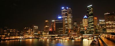 Sydney Harbor at night Stock Photos